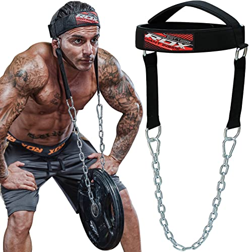 RDX Head Harness Weight Lifting Gym Neck Builder with Steel Chain - Neoprene Padded D Hook...