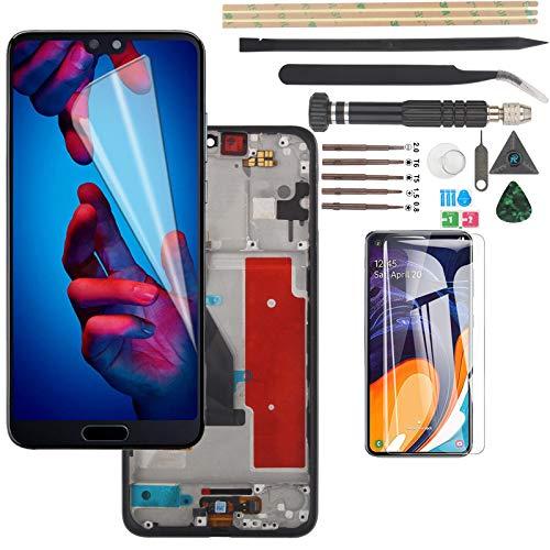 YWL-OU para Huawei P20 Pro CLT-L09 CLT-L29 LCD Display Digitalizador de Pantalla táctil (con Cable de llave de huellas dactilares) con Herramientas (Negro con Marco)