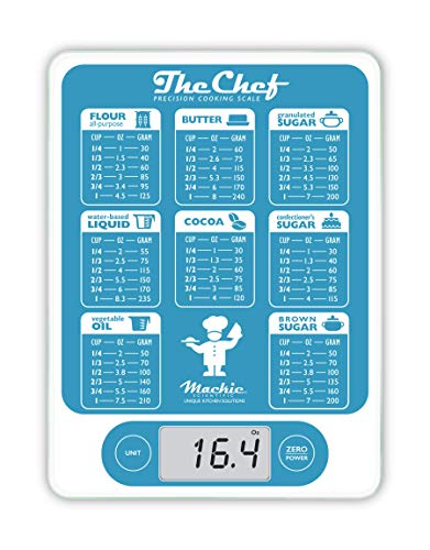Mackie The Chef Food Scale Digital Kitchen Scale Grams and Oz Easy Precision for Cooking Baking Meal Prep, Baking Conversion Table an American Co. (Turquoise and White)