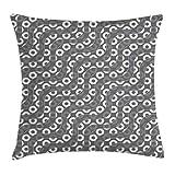 ETGeed Líneas geométricas onduladas diagonales con círculos ovales en Forma de Disco y Rondas Funda de Almohada Cuadrada Art Deco