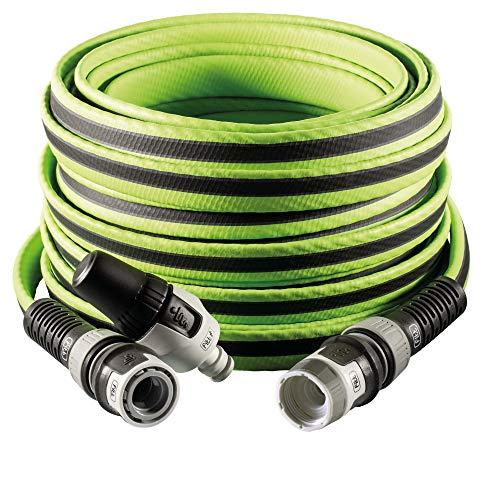"""FITT FORCE - Manguera de agua de jardín de 1/2"""" pulgadas, 15 m, compacta, ligera y resistente, para uso intensivo con lanza, gris con líneas verdes"""