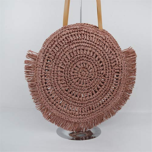 Straw bag Straw Bag Ladies Backpack Paper Rope Seaside Woven Beach Bag (Color : Pink, Size : One size)