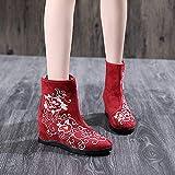 Zapatos Bordados para Mujeres Botas Bordadas Jacquard Tela Botas Cortas Últimas señoras otoñales Hidden Wedge Heel Botines Fall Shoes Tacones Bordados Linyn (Color : Model 1 Wine Red, Size : 40)