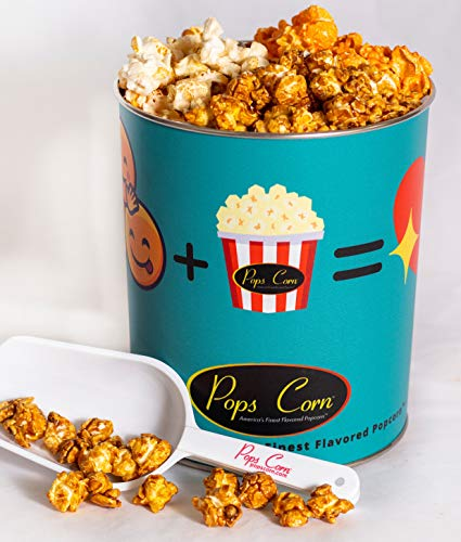 Pops corn 1 gallon emoji tin. 3 flavors FREE Santiarty scooper!