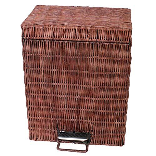 ZXW Bote de Basura- Bote de Basura Cubierto con Pedales rectangulares para el hogar, Amarillo, Marrón (Color : Brown, Tamaño : 25x16.5x32cm)