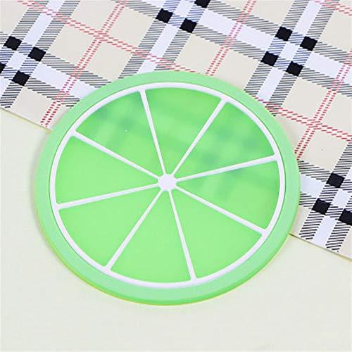 Trihedral-X Cup-Matten-Auflage-Untersetzer Frucht-Form-Silikon-Schalen-Auflage Beleg Isolierung-Auflage Heißes Getränk 5pcs (Color : B, Shape Style : Round)