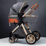 Cochecito ligero,cochecito de bebé de alta vista,carro,carro de aluminio,cochecitos de cochecito plegable compacto,cesta de almacenamiento,cubierta a prueba de intemperie y bolsa de mami(color:gris)
