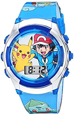 Pokemon Kids' POK3017 Digital Display Quartz Blue Watch