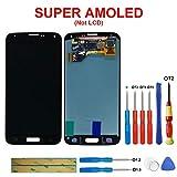 swark Super AMOLED GH97-15959B - Pantalla para Samsung Galaxy S5 SM-G900F G900F (incluye herramientas), color negro