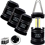 Gold Armour 4 Pack Portable LED Camping Lantern Flashlight with Magnetic Base - Emits 500 Lumens -...
