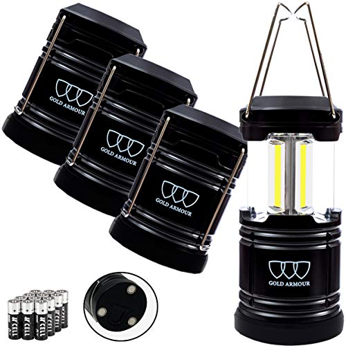 Gold Armour 4 Pack Portable LED Camping Lantern Flashlight with Magnetic Base - Emits 500 Lumens - Survival Kit Gear for Emergency, Hurricane, Power Outage with 12 aa Batteries (Black)