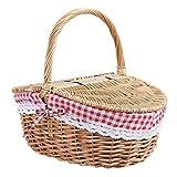 Cesta de picnic de mimbre de estilo campestre con tapa y asa y forros para...