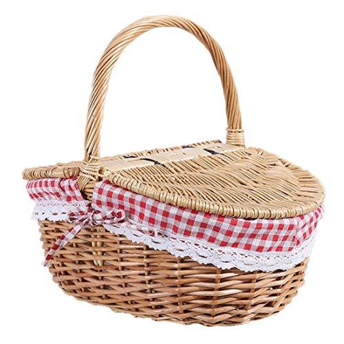 Cesta de picnic de mimbre de estilo campestre con tapa y asa y forros para picnic, fiestas, bodas y barbacoas