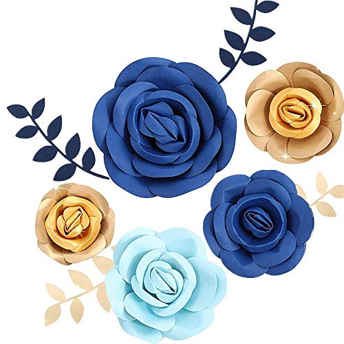 Fonder Mols 3D Paper Flowers Decorations for Wall (Navy Blue Gold, Set of 5) for Royal Blue Baby Boy Shower, First Nautical, Shark Birthday Party Photobooth Backdrop(NO DIY)