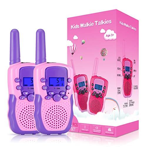 Kearui Spielzeug 3-12 Jahren Junge, Walkie Talkies für Kinder 8 Kanal Funkgerät mit Hintergrundbeleuchteter LCD-Taschenlampe, 3 Meilen Reichweite für Abenteuer im Freien, Camping, Wandern (Hell Pink)