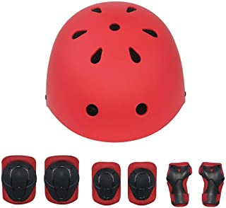 KYVIGOR Kids 7Pcs Protective Gear with Helmet,Sports Safety Equipment Child Helmet Pads of Wrist/Elbow/Knee, for Skateboarding, Cycling and Other Sports Activities(3-7Years Old)