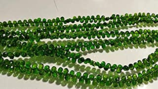 Jewel Beads Natural Beautiful jewellery 4 Inch Chrome Diopside faceted Drop shape, Very good quality,small briolette size 3x4 to 3x5MMCode:- JBB-25707