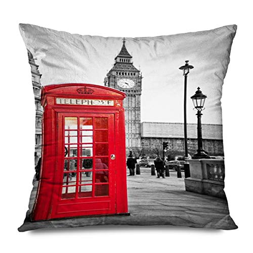 FAREYY Rustic Pillowcase Vintage Famous City Building Red Grey Black Artwork Pont Des Arts Decorative Throw Pillows Cushion Cover for Bedroom Sofa Living Room 20 x 20 Inches