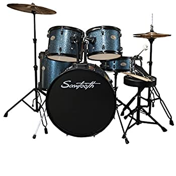 Rise by Sawtooth Full Size Student Drum Set with Hardware and Zildjian Planet Z Cymbals Storm Blue Sparkle Pack ZBT Pack  ST-RISE-DS-BS-KIT-2