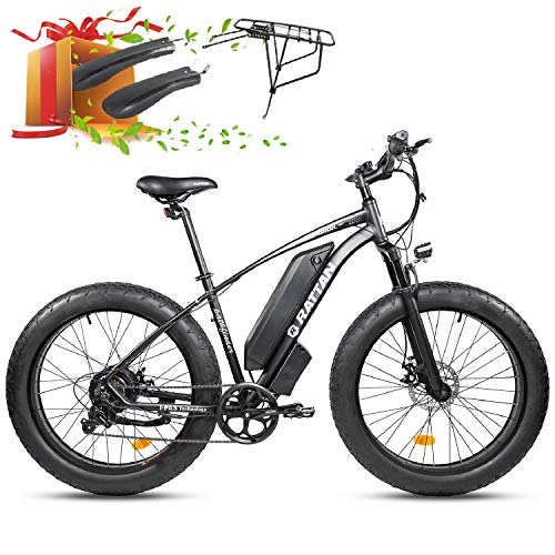 750W/500W Mountain Electric Bike 26Inch ×4.0'/ 27.5Inch ×2.8' Fat Tire Bike 48V 13AH Lithium Battery I-PAS 7 Speed Adult Bicycle 28MPH/25MPH Beach Snow Commute E-Bike 4.3' Display (750W-26-BLACK)