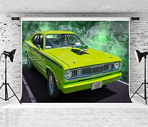 ZOANEN Photography Background,American Classic Car,Party Decoration Banner Photo Booth Backdrop for Studio Props(12x8FT)