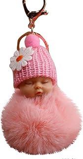 TAOtTAO Cute Fur Fluffy PomPom Sleeping Baby Doll Key Chains
