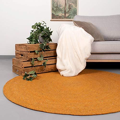 FRAAI | Home & Living Runder Wollteppich – Wise Gelb, Wolle, Teppich, super weich und warm, ockergelb, rund, morderner Teppich, pflegeleicht (150cm)