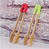 Wood Kitchen Tongs Natural Bamboo Toaster Tongs Barbecue Grill Tongs Food Clamp Fruit Clip Wooden Kitchen Utensil Set Silicone Cooking Tool for Cooking Toast Cake Bread Pickles Fruits Tea
