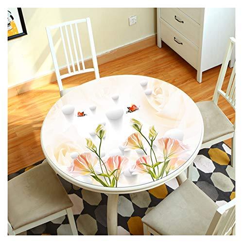 PVC Toile Cirée Nappe Rond Vinyle Mou, Tendre Étanche Nappe Cristal Pour La Cuisine,Essuyez Nettoyer,1,5mm Plus Épais ALGFree (Color : A, Size : Diameter-60cm)