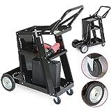 Goujxcy 3 Tier Welding Cart, Professional MIG TIG ARC Welder Cart Plasma Cutter Cart with Universal Tank Storage, Plasma Cutting Machine Cart, 175lbs Capacity