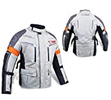 "Mens Silver/Grey Textile Motorcycle Motorbike Jacket Waterproof CE Armoured (Medium (38"" - 40""))"