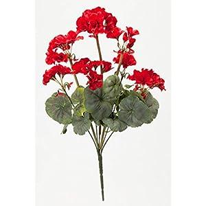 """Silk Flower Arrangements OakRidge Silk Geranium Bush – Artificial Flowers Outdoor Décor – Red, 19"""" Long"""