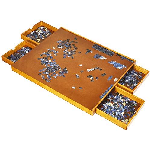 GOPLUS Puzzleplateau aus Holz, Puzzletisch mit 4 Schubladen, Puzzle-Speichersystem für 1000-1500 Stück, Puzzleunterlage mit ebener Arbeitsoberfläche, Puzzlematte, 80 x 65cm