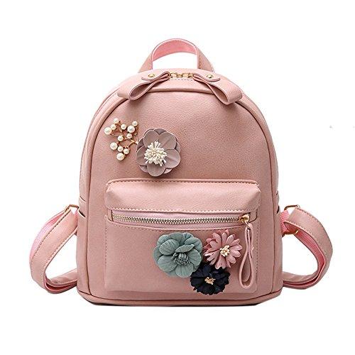 Bcony Mini Mochila de mujer de cuero PU Rosa flor de boho hecha a mano Bolso de hombro pequeño bolso casual de la universidad mochila para niñas adolescentes