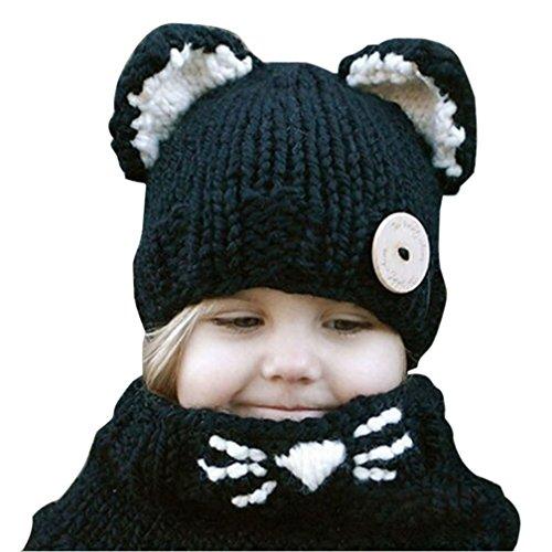 Kfnire Gorros de Punto cálidos bebé Gorros de Animales Lindos Fox Sombrero y Bufanda Gorros Gorras (Negro)
