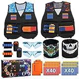 Lenbest 2 kit chaqueta de chaleco táctico para niños, chaqueta táctica nerf n-strike elite seriespara niños con 80 espuma dardos, juguete táctico y juguetes de armas, regalo para cumpleaños/navidad