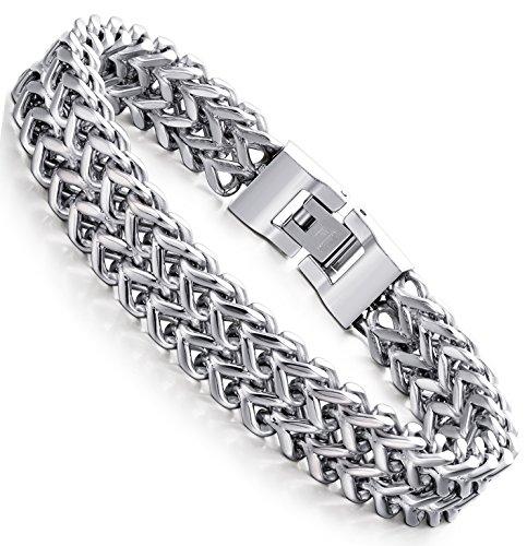FIBO STEEL Stainless Steel 12MM Two-strand Wheat Chain Bracelet for Men Punk Biker Bracelet,8.0 inches