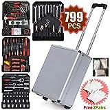 Yaheetech Sturdy 799pcs Tool Box with Tools and Wheels Aluminium tool Chest Box Household Tool Kit Set Case Mechanics Tool Kit Box Organizer