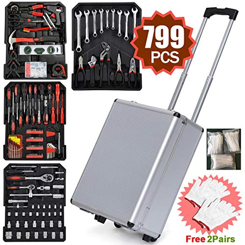 Yaheetech Sturdy 799pcs Tool Box with Tools and Wheels Aluminium tool Chest Box Household Tool Kit Set Case Mechanics Tool Kit Box Organizer