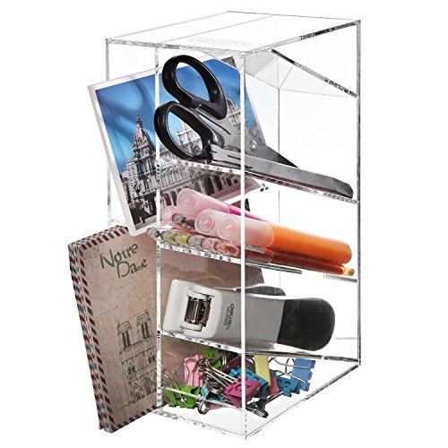 Modern Clear Acrylic Office Desktop Letter Mail Sorter/Pen & Pencil Holder/Home Organizer - MyGift