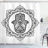 ABAKUHAUS Hamsa Tenda da Doccia, Mehndi Mandala Orientale, Tessuto Set di Decorazioni per Il Bagno con Ganci, per la Vasca da Bagno, 175 cm x 180 cm, Nero Bianco