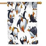 EKOBLA Funny Penguins Garden Flag Poses Cartoon Golf Lovely Animal Dancing Laughing Happy Flying Decorative Waterproof Garden Flags for Farmhouse Outdoor Park Decor Cotton Linen 12 x 18 Inch