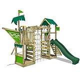 FATMOOSE Spielturm WaterWorld Wave XXL Klettergerüst mit Schaukel, grüne Rutsche und Kletterwand