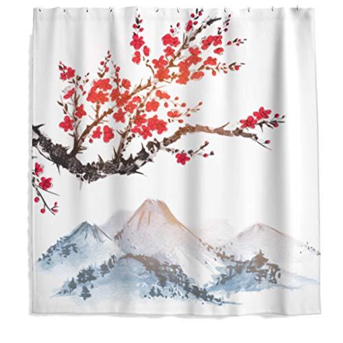 Rideau de douche en polyester avec crochets Motif fleurs de cerisier 120 x 200 cm