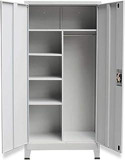 Cikonielf Armoire de bureau 180 x 40 x 90 cm, armoire métallique avec deux portes, armoire haute avec serrure et étagères