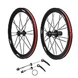 Drfeify Bicicleta Plegable de Metal Rueda de 16 Pulgadas Juego de Ruedas 349 V Cambio de Velocidad de Freno Delantero 2 Trasero 4 rodamientos