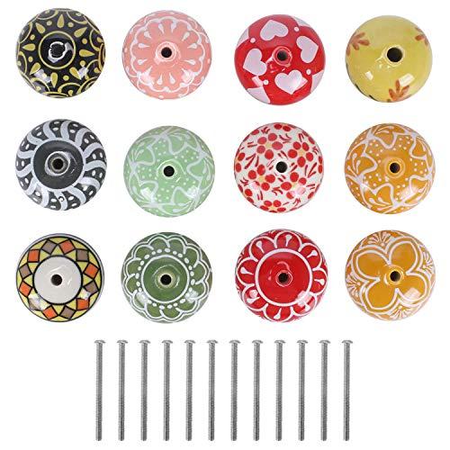KAILEE 12pcs Pomo Ceramica Colores, Redondo Pomo Armario Cocina 40cm Tiradores Ceramica Vintage para Cajones del Tocador Muebles de Cocina Habitación Infantil con Tornillos