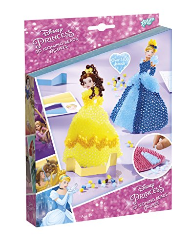 Disney´s Princess Bastel-Set: 3D Bügelperlen-Bilder mit verschiedenen Disney Prinzessinnen (Belle, Cinderella), Stickern und Steckplatten, Geschenk für Mädchen