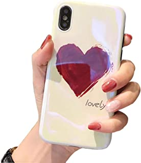 BONTOUJOUR iPhone X/iPhone XS Phone Case, Beautiful Art Little Heart Pattern Serie Cover Case Soft TPU 360 Degree Good Protection- Big red heart
