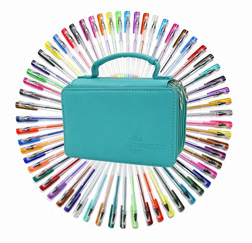 60 Assorted Colors Gel Pen Set with 72 Slots PU LeatherTravel Case, for Sketching, Drawing, Painting, Writing & Custom Artistic Creations Adult Coloring Books (60 PCS, Green)